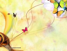 Art design on the wall - colorful butterflies