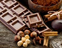 Chocolate with hazelnuts and cinnamon - HD wallpaper