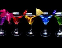 Cocktail with alcohol in different colors - HD wallpaper