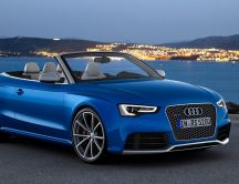 Beautiful blue Audi car at sunset - HD auto wallpaper