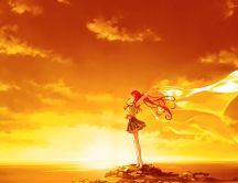 Golden nature made by the sun - anime girl in the wind