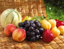 Picnic with summer fruits - HD wallpaper