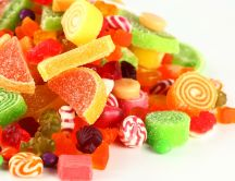 Sweet fruit jelly and lollipops - HD wallpaper