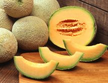 Delicious cantaloup - exotic summer fruits full of vitamins