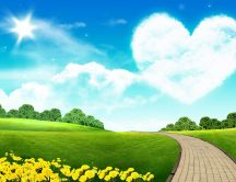Big cloud heart on the blue sky - HD wallpaper