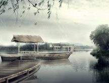 Artistic photo - wood boat on the lake