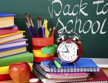 Apple, books and crayons - Time for back to school