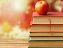 Books and apple fruit - Back to school time