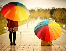 Two girls with big umbrellas in the rain - HD wallpaper