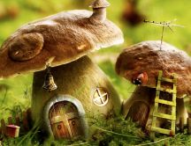 Wonderful houses in the mushrooms - Abstract wallpaper