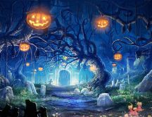 Scary night in the cemetery - Happy Halloween