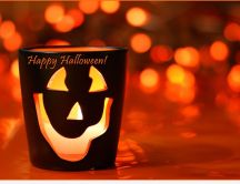 Happy Halloween candle - HD orange wallpaper