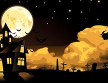 Scary Halloween night - Witch and bats on the dark sky
