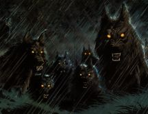 Dark scary wolfs - Halloween night