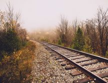 Railroad in the late Autumn season - HD wallpaper