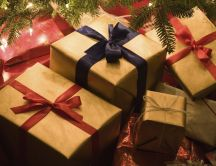 Christmas presents under the tree - Happy Holiday