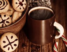 Delicious coffee and cookies for Santa Claus -Christmas time