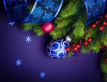 Blue Christmas ornaments - wonderful winter holiday