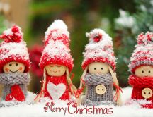 Four little girls wear Christmas clothes - HD wallpaper