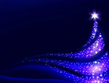 Blue light on an artistic Christmas tree - HD wallpaper