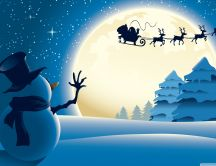 Santa Claus on the sky - Snowman say hello to the big moon
