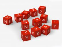 Red cubes with one message - Happy New Year 2017