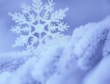 Perfect macro snowflake in the snow - HD winter wallpaper