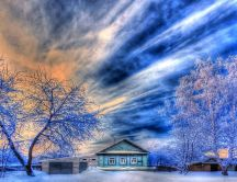 Wonderful magic blue sky in the winter season - HD wallpaper