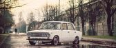 White old car - Lada on the road