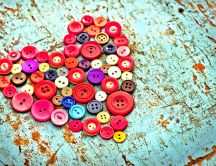 Wonderful heart made from red buttons - Love Valentines Day