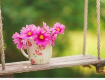 Pink bouquet flowers in a cup of coffee - HD wallpaper