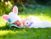 Little baby boy and sweet white rabbit - Happy Easter