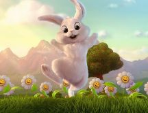 Easter paint - Happy rabbit on the nature