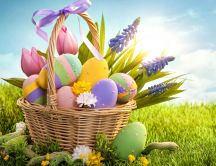 Wonderful Easter basket full with coloured eggs -Spring time
