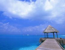 Wooden pavilion in the middle of the blue ocean - Wonderful