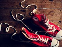 Red Converse on the flour - HD wallpaper shoes