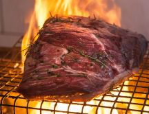 One big piece of meat in the fire - Delicious summer food