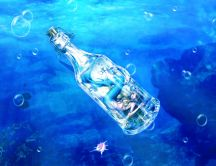 Blue mermaid captured in a bottle in the ocean -HD wallpaper