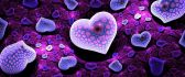 Artistic purple hearts on a fluffy carpet - HD wallpaper