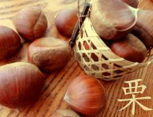 Autumn fruits - Delicious chestnuts in basket