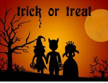 Halloween costumes for kids - Trick or treat on dark night