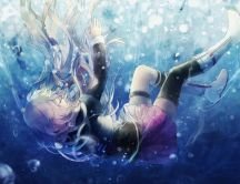 Anime splash in the ocean water - HD wallpaper