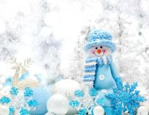 Blue snowman and wonderful Christmas accessories