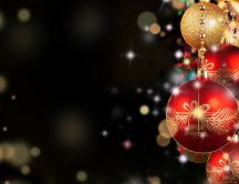 Red and golden Christmas balls - Happy winter holiday
