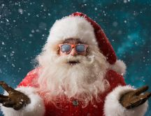 Cool Santa Claus with sunglasses - Cold and snowy winter day