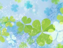 Digital art - White and green clovers on the wall