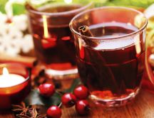 Cranberries hot tea with cinnamon- HD wallpaper