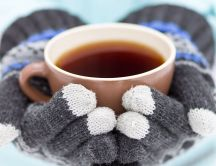 Winter gloves hold a cup of hot tea - HD wallpaper