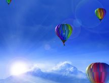 Colorful hot air balloons on the blue sky - Cold winter day