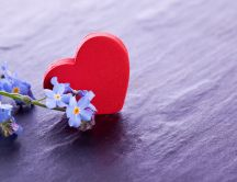 Blue flowers and a red heart - Gift for Valentines Day